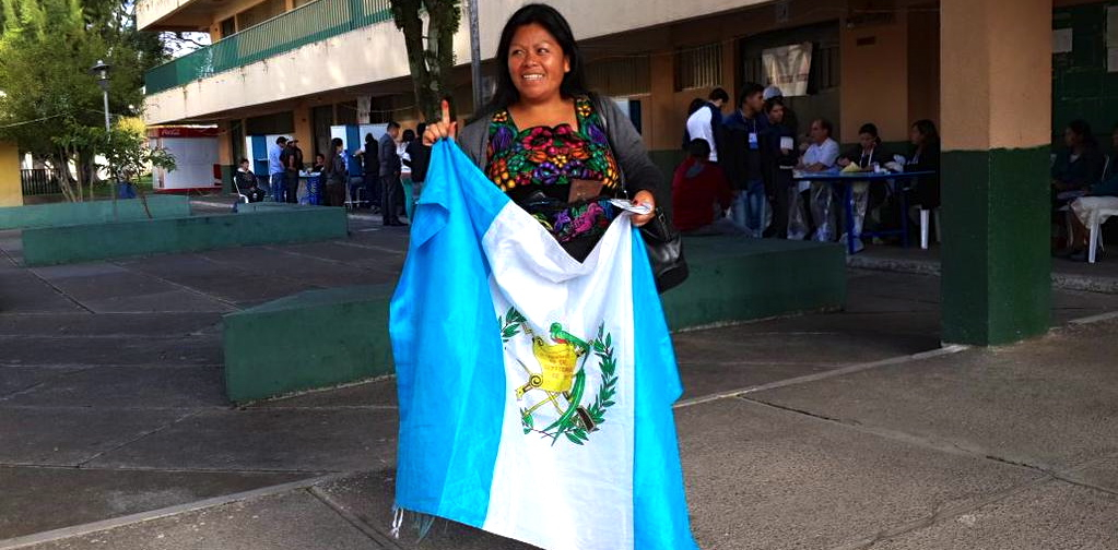 A young woman celebrates her participation in what were historic and peaceful elections this weekend in Guatemala. (@sblaskey)