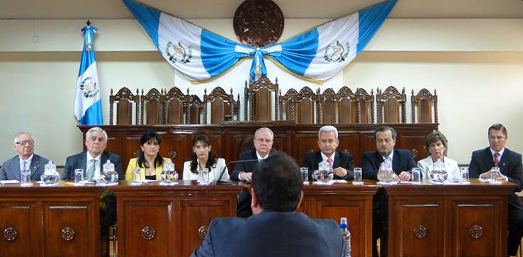 Civil-society organizations present their concerns to Guatemala's Constitutional Court over select process for the nation's Supreme Court and Appeals Court. (CICIG Facebook)