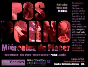 The flier promoting the activity showed the official logos of the Social Sciences School of the University of Buenos Aires and the Communication, Gender, and Sexualities department. (@Ncastrovillari)